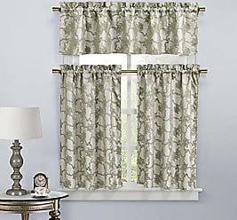 Duck River Textile Home Maison Gala Floral 3 Piece Kitchen Window Curtain Tier & Valance Set, 2 Tiers 29 x 36 & One Valance 58 x 15, Taupe