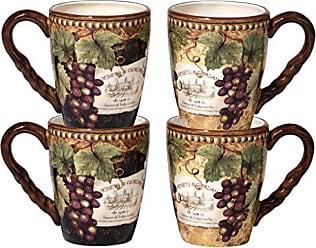 Certified International Gilded Wine Mugs (Set of 4), 20 oz, Multicolor