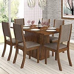 Viero Conjunto Sala de Jantar Mesa e 6 Cadeiras Cereja Viero Avelã/Canela
