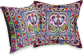 AeraVida Gorgeous Tropical Blue Forest Hilltribe Embroidery Throw Pillow Cover Set of 2