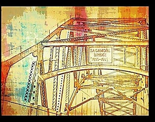 Buyartforless Buyartforless Framed Saga More Bridge I by Brandi Fitzgerald 16x12 Art Print Poster Colorful Abstract Design Old Cape Cod Canal Bridge
