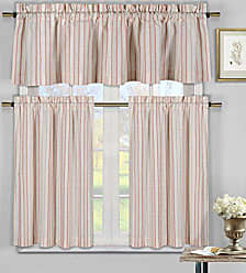 Duck River Textile S - Xandra Striped Kitchen Window Curtain Set, 2 Tiers 29 X 36 Inch | 1 Valance 58 X 15 Inch, Tangerine Orange