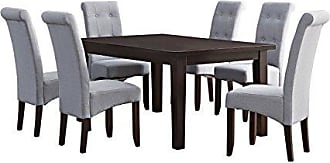 Simpli Home Simpli Home AXCDS7-COS-DGL Cosmopolitan Contemporary 7 Pc Dining Set with 6 Upholstered Dining Chairs and 66 inch Wide Table