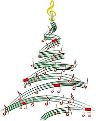 Wallmonkeys Musical Christmas Tree Wall Decal Peel and Stick Graphic (48 in H x 38 in W) WM333059