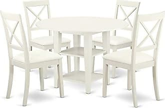 East West Furniture SUBO5-LWH-LC Sudbury Set, Linen White