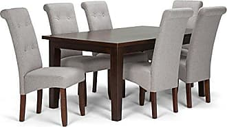 Simpli Home Simpli Home AXCDS7-COS-CLG Cosmopolitan Contemporary 7 Pc Dining Set with 6 Upholstered Dining Chairs and 66 inch Wide Table