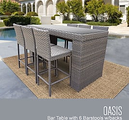 TK Classics Oasis Bar Table Set With Barstools 7 Piece Outdoor Wicker Patio Furniture