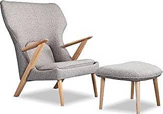 Kardiel CO-URBANPEBBLE Cub Modern Lounge Chair & Ottoman, Urban Pebble Vintage Twill