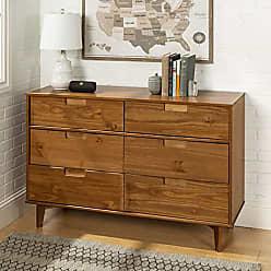 Walker Edison WE Furniture AZR6DSLDRCA Dresser, Caramel