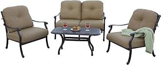 DARLEE Outdoor Darlee Sedona 4 Piece Aluminum Deep Seating Loveseat Patio Conversation Set - 201038-4PCL-60B-AB
