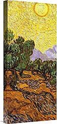 Bentley Global Arts Global Gallery Budget GCS-394104-22-142 Vincent Van Gogh Olive Trees with Yellow Sky and Sun (Center) Gallery Wrap Giclee on Canvas Wall Art Print