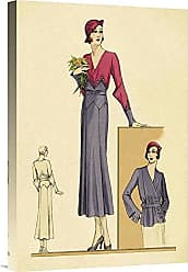 Bentley Global Arts Global Gallery Budget GCS-379245-22-142 Vintage Fashion Sunday Dress in Periwinkle and Magenta Gallery Wrap Giclee on Canvas Wall Art Print