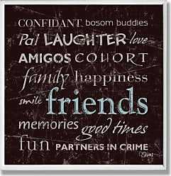 The Stupell Home Décor Collection Stupell Home Décor Friends Typography Brown Wall Plaque, 12 x 0.5 x 12, Proudly Made in USA
