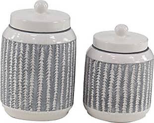 Deco 79 85154 Modern Ceramic Jars with Lids 7 W x 11 H Black, White