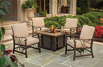 Oakland Living Outdoor Oakland Living Goldie Gas Firepit Table with Four Cushioned Spring Rocking Deep Seating Chairs - 8217GST-8218SC4-5-AB