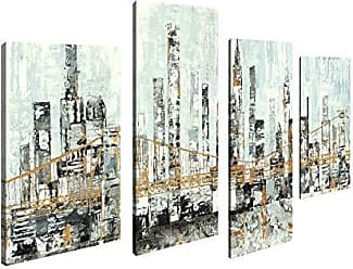Art Maison Canada Abstract Cityscape City Bridge Giclee Gallery Wrapped Canvas Wall Art |Modern Décor for Home and Office | Ready to Hang |Set of 4(12x24INCHx2pcs+12x18INCHx2pcs)