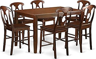 East West Furniture DUKE7H-MAH-W 7 Piece High Top Table and 6 Dinette Chairs Set, Mahogany Finish