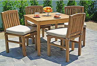 Willow Creek Designs Outdoor Willow Creek Huntington 5 Piece Square Teak Patio Dining Set Canvas Heather Beige - WC-33-5476