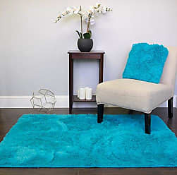 Sweet Home Collection Faux Fur Area Rug Decorative 4 x 5 Ultra Soft and Luxurious Cruelty Free Eco Friendly Shag Non Skid Premium Floor Cover for Living Room, Dining Room, Bedroom, and more!, Turquoise Blue