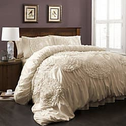 Lush Décor Serena Comforter Ivory Ruched Flower 3 Piece Set, Full/Queen