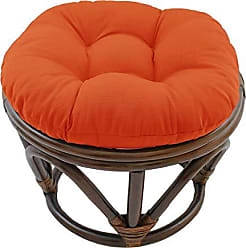 Blazing Needles Solid Twill Round Footstool Cushion, 18, Tangerine Dream