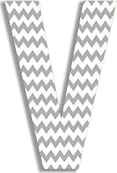 The Stupell Home Décor Collection The Stupell Home Decor Collection Gray Chevron Hanging Wall Initial, 18-Inch, V