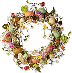 National Tree Company National Tree 18 Inch Easter Wreath with Mixed Flowers, Twigs and Pastel Eggs (GAE30-18WEF)