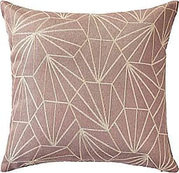 Violet Linen Victoria Chenille Abstract Haxegon Design Decorative Throw Pillow Covers 18 X 18 Oatmeal