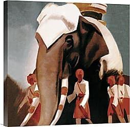 Bentley Global Arts Global Gallery Budget GCS-379192-22-142 Vintage Elephant Lloyd Triestino Espresso Itali India Gallery Wrap Giclee on Canvas Wall Art Print