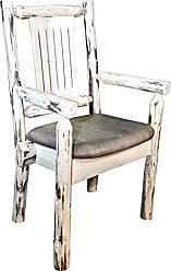 Montana Woodworks MWCASCNVBUCK Montana Collection Captains Chair, Clear Lacquer Finish with Upholstered Seat, Buckskin Pattern