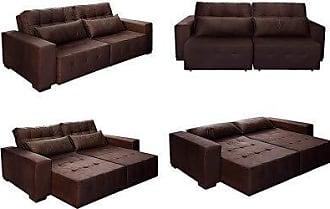 Cama inBox Sofá Retrátil, Reclinável e Cama com Molas New Confort 2,50 Tecido Suede Marrom Café - Moveis Marfim