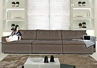 Cama inBox Sofá Austrália 3,52 Mts Retrátil e Reclinavel com Molas no Assento Tecido Suede Pluma Café - Moveis Marfim