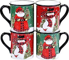 Certified International Winters Plaid 16 oz. Mugs, Set of 4, 2 Assorted Designs