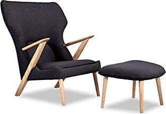 Kardiel CO-URBANINK Cub Modern Lounge Chair & Ottoman, Urban Ink Vintage Twill