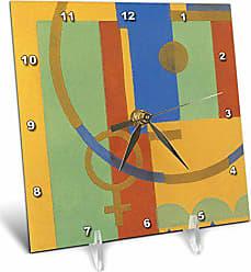 3D Rose 3dRose LLC Colorful Art Deco 6 by 6-Inch Desk Clock