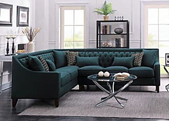 Chic Home Iconic Home FSA2675-AN Chic Home Aberdeen Linen Tufted Down Mix Modern Contemporary Left Facing Sectional Sofa, Teal