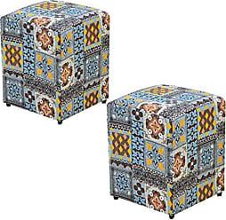 Nay Multicoisas Kit 02 Puffs Decorativo Quadrado Suede Azulejo - Nay Estofados