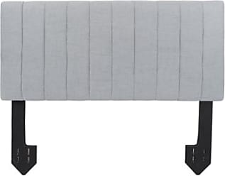 Ashley Furniture Carrie Queen Channel Tufted Powered Headboard, Light Gray