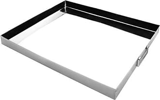 Rechteckiges Tablett aus rostfreiem Edelstahl 38x27x2,5 cm