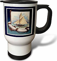 3D Rose tm_44760_1 Vintage Sailboat and Anchor with Navy Blue Frame Travel Mug, 14-Ounce, Stainless Steel