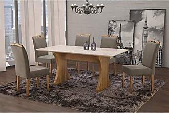 Siena Móveis Conjunto Sala de Jantar em Madeira Maciça Mesa Milão Curva e 6 Cadeiras Priscila Siena Móveis Imbuia Natural/Suede 15