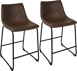 LumiSource Duke Industrial 26 in. Counter Stool - Set of 2 Black / Espresso - B26-DUKZ BK+E2