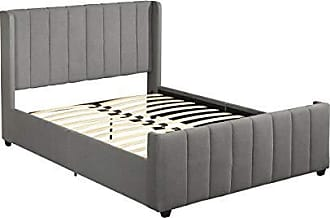 Christopher Knight Home 306984 Riley Fully-Upholstered Bed Frame - Queen-Size - Traditional - Charcoal Gray, Black
