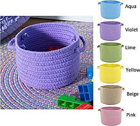 Rhody Rug Fun Braids Solid Yellow 18 x 12 Basket