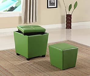 Round Hill Furniture 2-in-1 Storage Ottoman with Stool, Lime Green