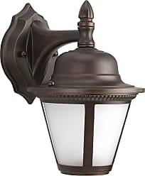 PROGRESS Westport Antique Bronze 1-Lt. Wall Lantern (6-7/8) w/AC LED Module Etched Seeded glass shade