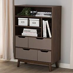 Baxton Studio Britta Modular Bookcase - BC 1080-01-BROWN/GREY