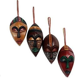 Novica Wood ornaments, Celebration Masks (set of 4) - African Wood Christmas Ornaments