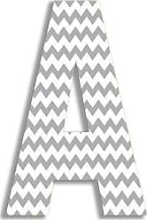 The Stupell Home Décor Collection The Stupell Home Decor Collection Gray Chevron Hanging Wall Initial, 18-Inch, A