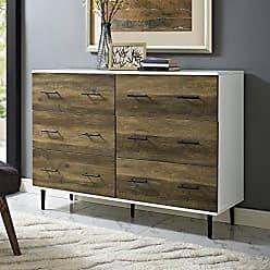 Walker Edison WE Furniture AZU52SV6DWRO Dresser, White/Rustic Oak